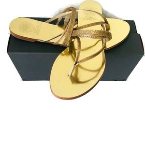 Vince Camino shoe/sandals golden satin. Size 10.